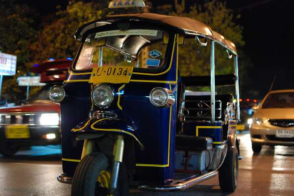 A Tuk Tuk at Chiang Mai Gate Market at night, Thailand