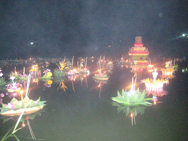 Loi Krathong Offerings on the water